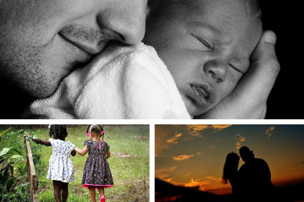 father and baby; two little girl friends; lovers