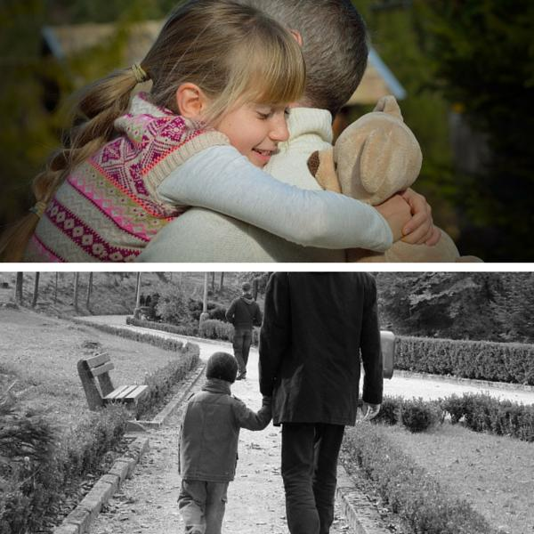 two images: daughter hugging her daddy and a son walking with his daddy hand in hand