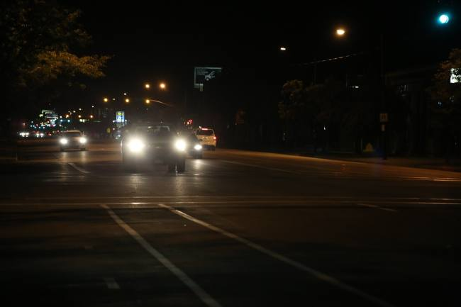 car headlights on a busy road