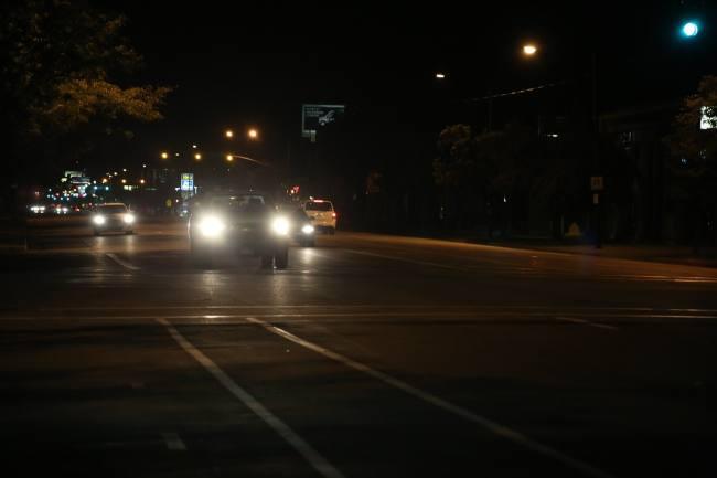 car headlights on a busy road