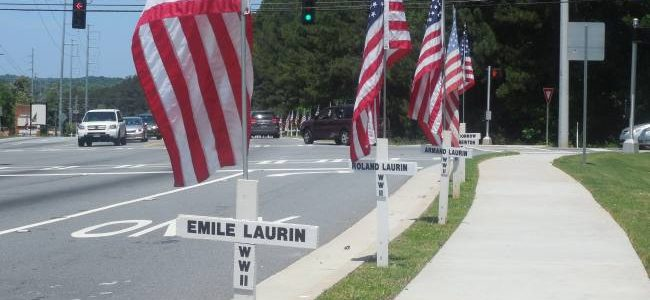 white crosses with names of fallen soldiers
