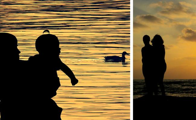 two pictures: mother & child; wife & husband