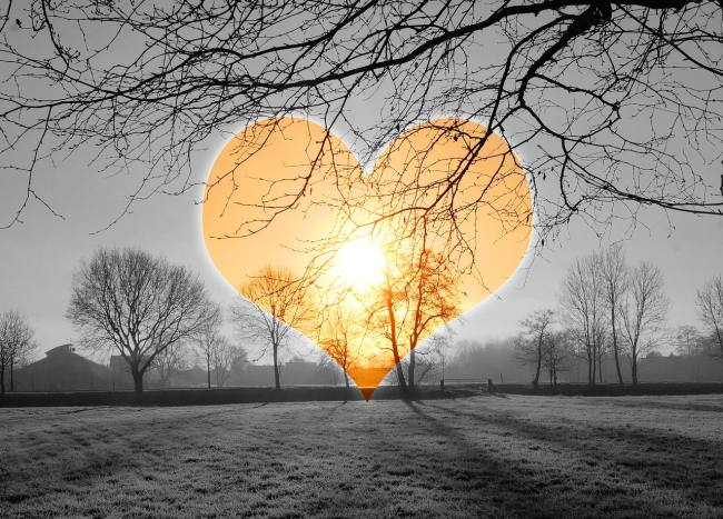 cold, early morning scene with a giant heart-shaped light