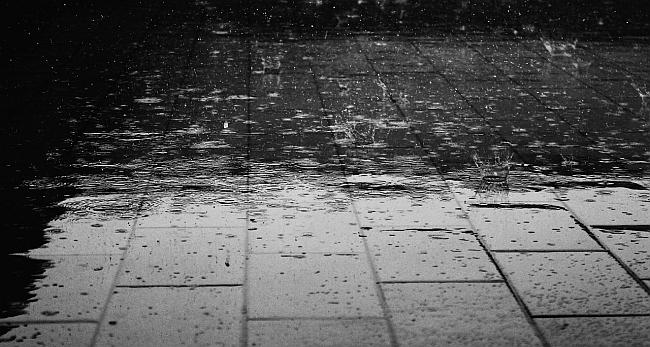 image of raindrops on the pavers