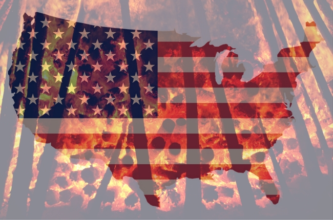 map of the united states up in blazes--i.e., hell