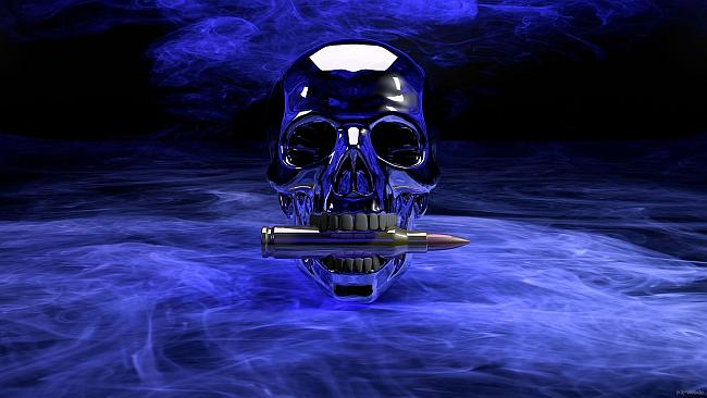 skull with a bullet between its teeth in a blue haze